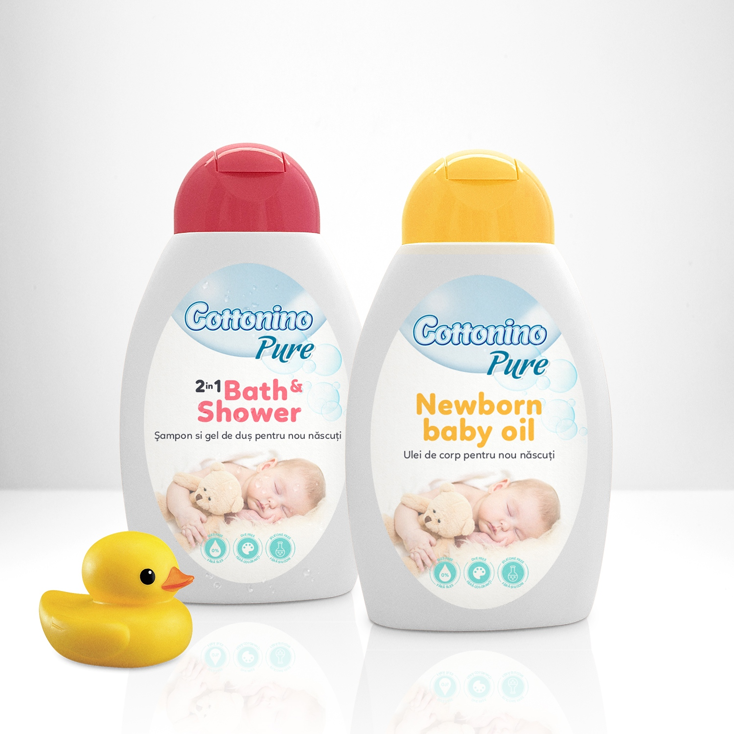 Cottonino Pure Bath shower and newborn baby oil branding and packaging design