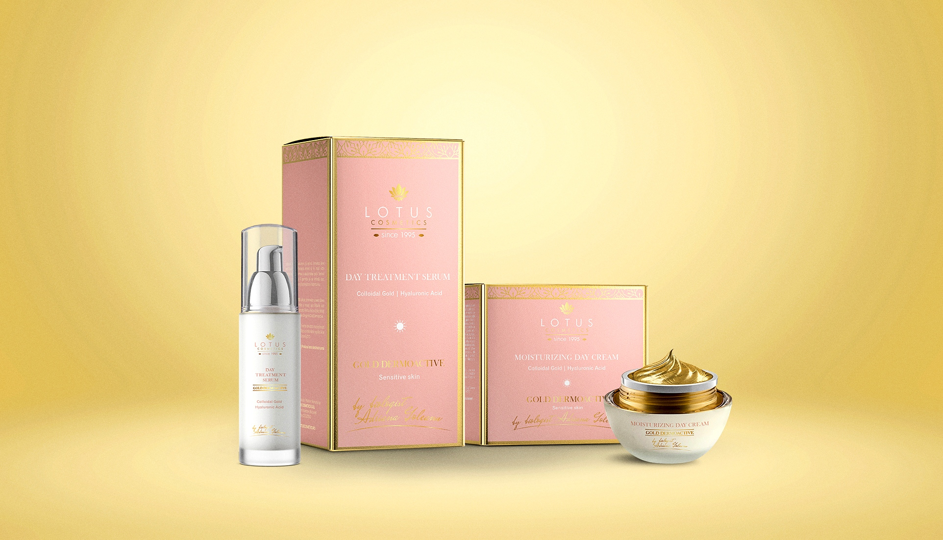 day treatment serum, gold dermoactive, luxury packaging design, cosmetics packaging design labels, gold face cream branding,