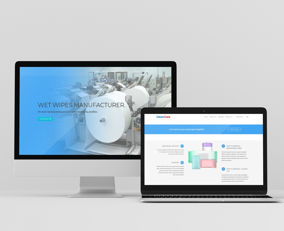 Clean care Hygienics website design, wet wipes manufacturer