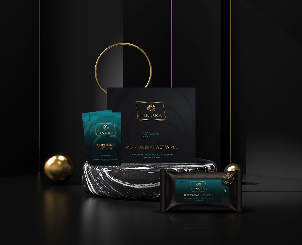Finura wet wipes branding and packaging design, luxury cosmetic branding