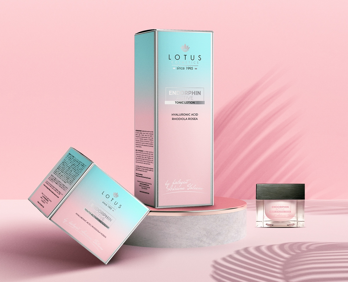 Lotus Cosmetics endorphine active range packaging design, luxury cosmetics packaging and branding, luxury box design