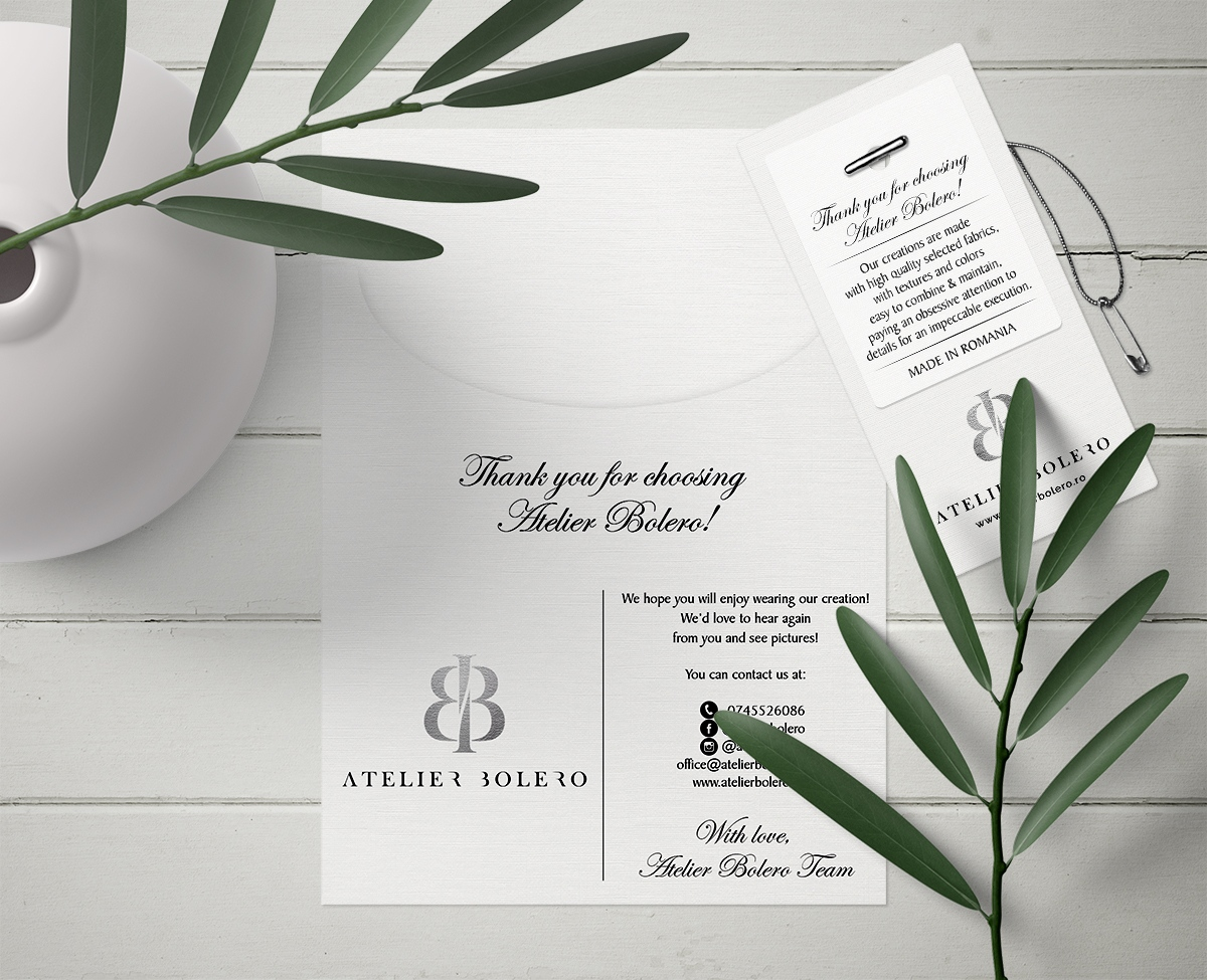 Atelier Bolero Stationary, fashion stationary, fashion label design