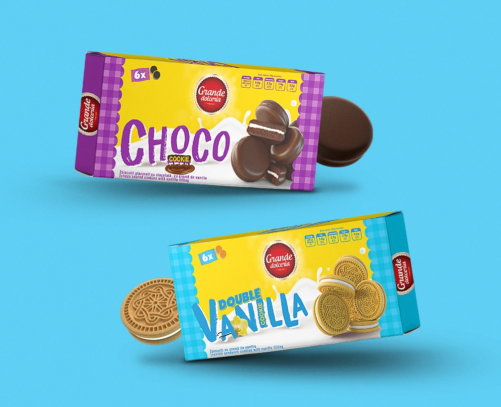 Choco and vanilla packaging design, branding, food packaging design