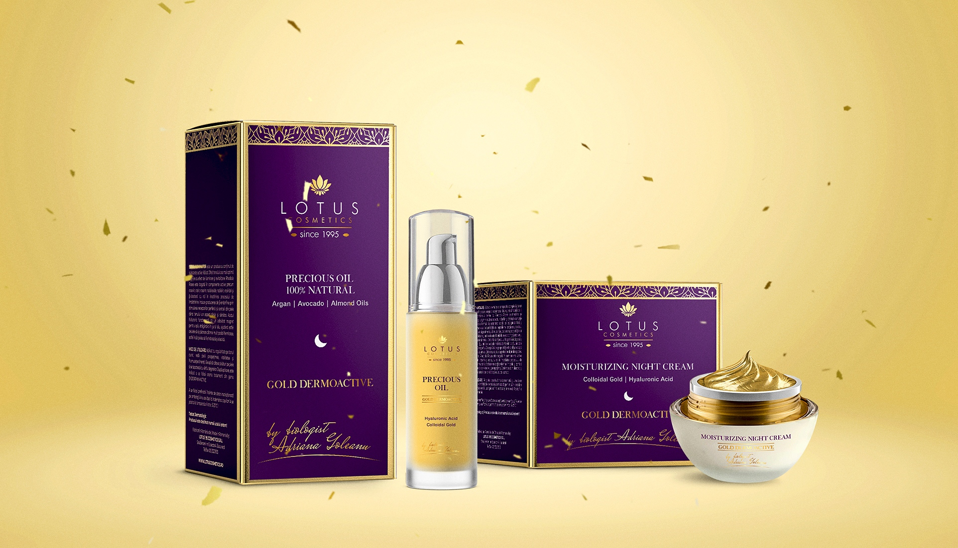 precious oil 100% natural, gold dermoactive, luxury packaging design, cosmetics packaging design labels, gold face cream branding,